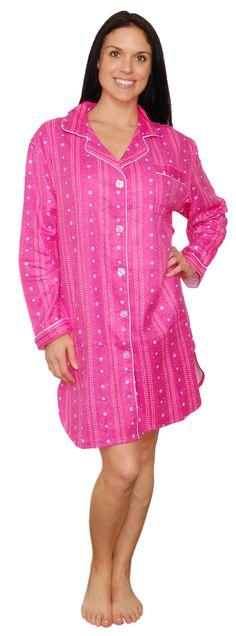 bSoft Floral Dottie Pink Longsleeve Bamboo Flannel Sleepshirt