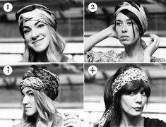 4 ways to wear scarves in your hair! http://blog.freepeople.com/2012/11/video-4-easy-ways-wear-scarves/#
