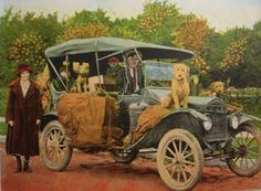 """Tin Lizzy Model T Postcard 1925 """"Crank up the Lizzy, an all git aboard"""" Verse Copyright By Asheville Post Card Co"""
