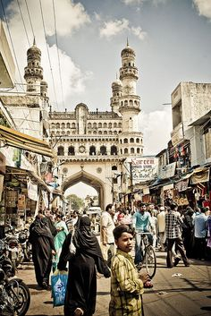 Hyderabad, India with the Charminar monument and mosque in the background We flex to Hyderabad from Bombay. Oh The Places You'll Go, Places To Visit, Monument In India, Ancient World History, India Travel, Asia, Incredible India, Hyderabad, Mosque