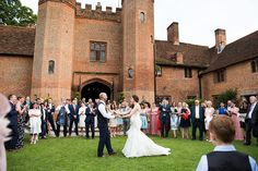 Romantic outdoor first wedding dance at an elegant wedding at Leez Priory Essex © Fiona Kelly Photography