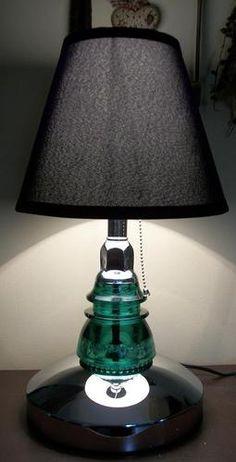 Stunning Glass Insulator Table or Desk Lamp-w/ a Green Hemingray 42 Black Shade