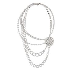 "CHANEL. ""Eternal"" necklace in 18K white gold set with five pear‑cut diamonds, eight round‑cut diamonds, two ovale‑cut diamonds, 22 fancy‑cut diamonds and 2039 brilliant‑cut diamonds #Chanel #ChanelJoaillerie #L'EspritDuLion #2018 #FineJewelry #HighJewellery #HauteJoaillerie #Diamond"