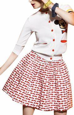 Women's Summer Car Silk Fabric Pleated Zipper Skirt