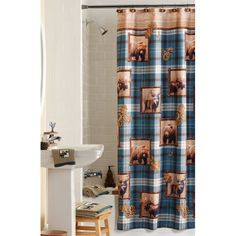 Mainstays Plaid Lodge Shower Curtain, Multicolor