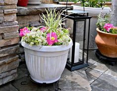 how to upcycle cheap flower pots, container gardening, crafts, gardening, via Kristin My Uncommon Slice of Suburbia
