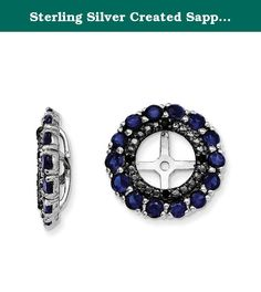 Sterling Silver Created Sapphire & Black Sapphire Earring Jacket. Product Type:Jewelry Jewelry Type:Earrings Earring Type:Cluster Round Material: Primary:Sterling Silver Material: Primary - Color:White Material: Primary - Purity:925 Length of Item:13 mm Width of Item:13 mm Sold By Unit:Pair Completeness:Complete (all stones included) Stone Type_1:Sapphire, Lab Created Stone Creation Method_1:Lab Created Stone Treatment_1:Heating Stone Shape_1:Round Stone Color_1:Blue Stone Size_1:2 mm…