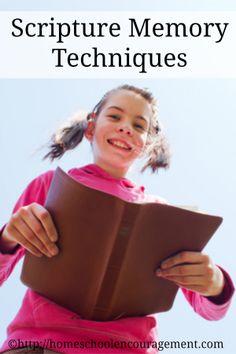 Scripture Memory Techniques: Ways to Make it Happen from #Homeschool Encouragement #scripturememory #biblememory