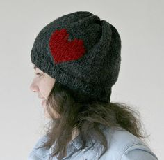 Red Heart Knit Hat in Grey Charcoal