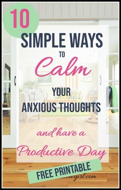 Calm Anxious Thoughts Overwhelmed with anxious thoughts? Feel like nothing is getting done? Calm your anxious thoughts with these 10 anxiety coping skills. And enjoy a more productive day! Learn how to ease anxiety and stress. How To Ease Anxiety, Anxiety Coping Skills, Types Of Anxiety, Anxiety Help, Stress And Anxiety, Health Anxiety, Anxiety Tips, Anxiety Relief, Stress Relief