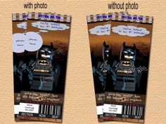 Batman birthday invitation, Ticket style. Digital (Print-it-yourself)