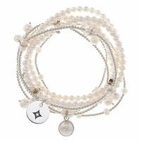 "This Alpha Sigma Alpha bracelet set contains seven strands of freshwater pearls and sterling silver beads to create a modern and fun stretch bracelet with a classic style. The subtle addition of the sorority mark is another way to show your sorority spirit!Solid Sterling SilverNumber of pearl strands: 3Number of silver strands: 4""The indicia featured on this product are protected marks owned by the respective sorority"""