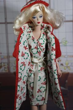 Christmas Dress and Faux Fur Coat with Matching Hat fits Silkstone, Fashion Royalty, Victoire, Poppy Parker by Boutiquewindow on Etsy