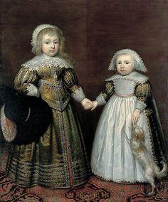 1633 Cornelius Johnson (Cornelis Janssens van Ceulen) - Two Children with a Dog