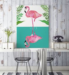 Flamingo poster Plakat Illustration Wasserfarbe pink Sommer Design