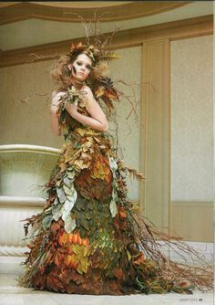 """""""Autumnal Ruination"""" This gown features groupings of artificial leaves, branches, and grasses.  It was even more vibrant in person onstage."""