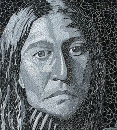 A Face in the Shadows by Linda Biggers. Eggshell mosaic