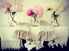 Guest Bathroom linen hand towels with lace trim. Tone down the lace.