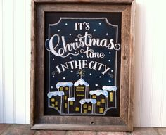 Christmas Holiday chalkboard chalk art from Main Street Chalk Signs chalk art rustic wedding shabby chic hand lettering let it snow snowflake