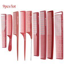 Rojo Color de Peluquería Peine de Corte en 9 Unidades de Diseño Conjunto, peluquería Peine de Cola Para El Corte De Cabello, corte de pelo Peine V-97 En Material de gran calidad