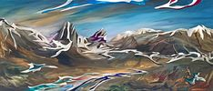 Looking Back, mixed media landscape painting by Joel Masewich   Effusion Art Gallery + Cast Glass Studio, Invermere BC Mountain Paintings, Nature Paintings, Landscape Paintings, Headboard Art, Modern Art, Contemporary Art, Lake Painting, Spring Landscape, Canadian Artists