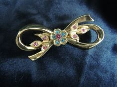 Vintage Brooch Pin SIGNED Designer Coro Bow Flower Blue Pink Feminine Delicate