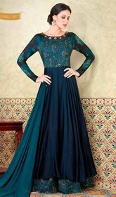 Navy Blue Color Shaded Cotton Satin Long Anarkali Suit #cbazaaranarkalichuridar #anarkaliindiandress Create an enigma with this navy blue color shaded cotton satin long Anarkali suit. The lovely lace, resham and stones work throughout the attire is awe-inspiring. USD $ 96 (Around £ 66 & Euro 73)