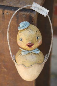 Folk Art Bird Easter Chick Primitive Spring Holiday Decoration
