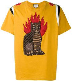 Gucci flame tabby cat motif t-shirt  #Gucci #shirt #ShopStyle #MyShopStyle click link to see more of shirt collection