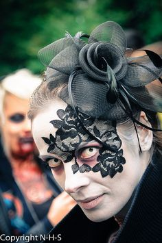 stockholm zombie walk 2013 black lace masquerade mask adheres to skin reusable by - Masquerade Costumes Halloween