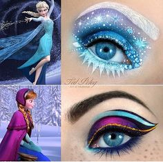 Frozen Makeup! Elsa and Anna  A little more than I would wear but fun! Try it with Younique's pigments and send me your results! www.youniqueproducts.com/SheilaJarvis