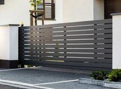 Brama przesuwna House Fence Design, Door Design, Front Gates, Modern Fence, Backyard Fences, Garden Gates, Modern Design, Facade, Exterior