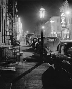 Night scene in Little Italy -  Baltimore, Maryland - 1957 - photographer Thomas C. Scilipoti.