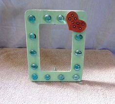 Embellished Green Picture frame-Glass gems-wood-distressed-shabby-cottage chic #Handmade #Country