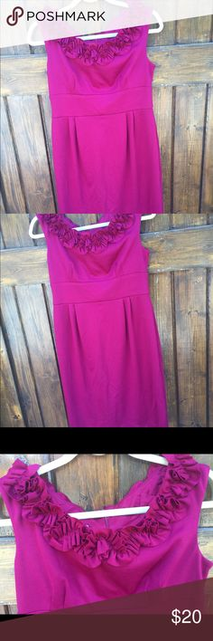 Floral fuchsia mini dress size 8 A London Times dress, size 8. Ruffles around the neckline give the illusion of flowers. A very elegant and formal dress, can be worn on various occasions. I think I wore this dress two times, it was very well taken care of. Make me an offer if you are interested, I am very flexible with my prices. Thank you! ☺️ London Times Dresses Mini