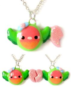 Lovebird Friendship Necklaces  Going to attempt something like this someday. when i'm not lazy anymore ^^'