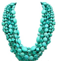 Multi Strand Chunky Turquoise Necklace - 8 Strands Assorted Stones and Silver