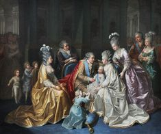 Portrait of the Royal Family of France, circa 1782.  Marie Antoinette holds the dauphin, Louis Joseph, as her husband, Louis XVI gazes into her eyes.  The royal couple are surrounded by the king's brothers - Provence and d'Artois and their wives.  Kneeling is Madame Royale. ~LMB
