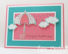 Umbrella Weather Together stampin up brighter days card