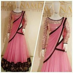 Simple n elegant Half Saree Lehenga, Sari, Saree Dress, Bollywood Lehenga, Lehenga Skirt, Half Saree Designs, Lehenga Designs, Saree Blouse Designs, Indian Gowns