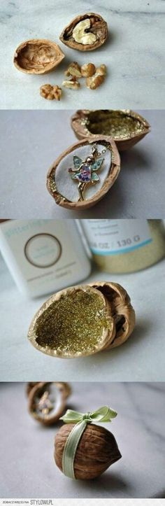 Save this cute DIY box made out of a walnut, painted with glitter + tied up with a green ribbon for the perfect unique packaging.