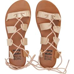 Billabong Women's Beach Brigade Sandals (3.065 RUB) ❤ liked on Polyvore featuring shoes, sandals, sapatos, footwear, rose gold multi, black sandals, black gladiator sandals, laced sandals, lace up sandals and laced up gladiator sandals