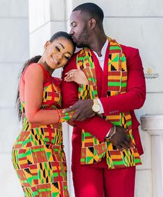 Couples African Outfits, Couple Outfits, African Attire, African Fashion Dresses, African Dress, Black Suit Wedding, Black Love Couples, African Love, Kente Cloth