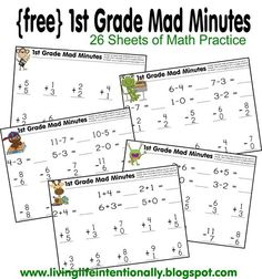FREE 1st Grade Mad Minutes - These are a great way to help 1st graders practice addition and subtraction using a cool math games. Great for getting daily practice for homeschool or classroom kids.