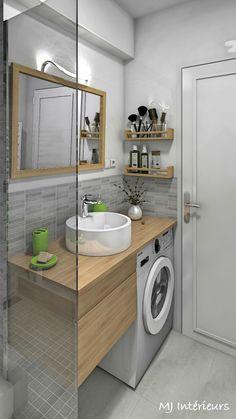 Studio vue mer Royan - la salle d'eau avec lave-linge sous le plan de toilette en placage chêne clair - espace optimisé et ambiance zen avec un carrelage sol aspect béton et une faïence murale en nuances de gris