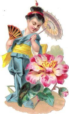Oblaten Glanzbild scrap die cut chromo Blume Kind flower child Fächer fan Schirm
