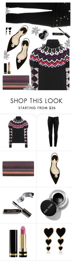 """Add some pizzazz to your Thursday!"" by juliehooper ❤ liked on Polyvore featuring Loewe, Versace, Paul Smith, Paul Andrew, Bobbi Brown Cosmetics, Gucci and Edie Parker"