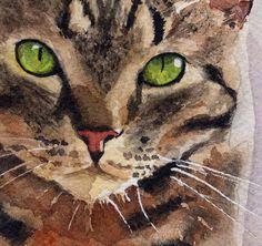 Tabby Cat Art Print of my watercolor painting by rachelsstudio, $25.00