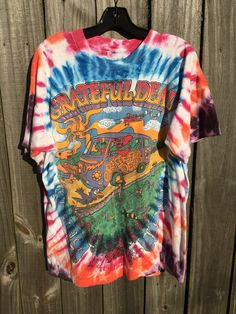 1997 Grateful Dead tee distressed psychedelic tie dye t shirt rainbow vintage graphic tee music festival hippie style clothing mens XL qbFYsZU