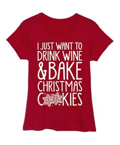 Another great find on #zulily! Red 'Wine & Christmas Cookies' Fitted Tee - Women by Festuvius #zulilyfinds
